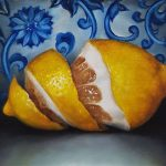 Peel Lemon on Blue and White Wall