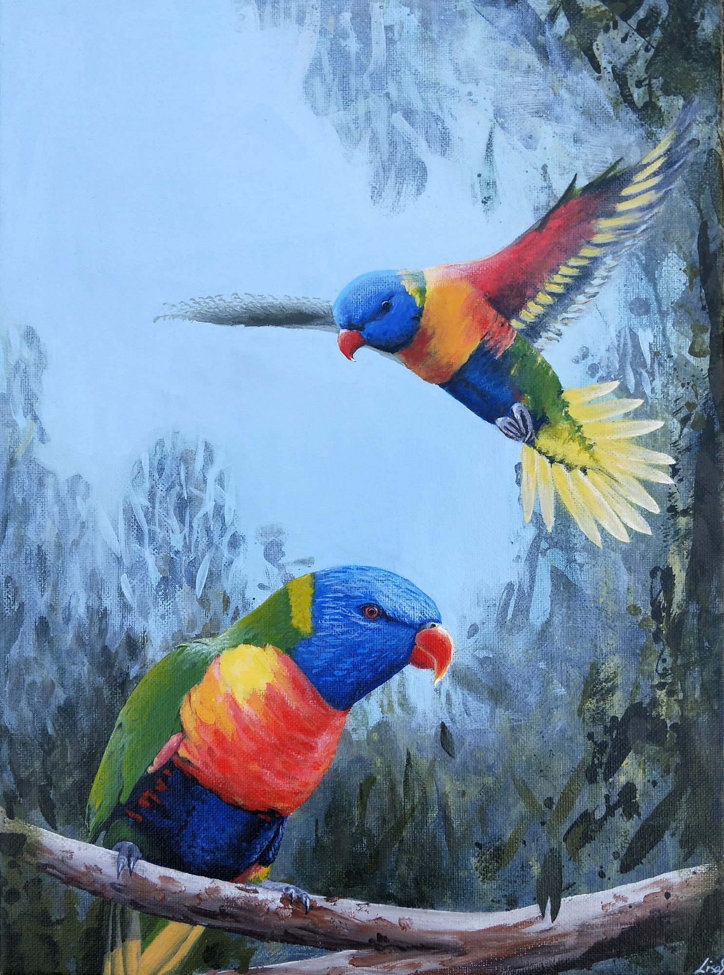 Rainbowlorikeetpair,30x40acrylic,1 3 2019 (2)