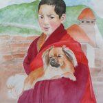 Tibetan Spaniel Dog In The Arms Of A Tibetan Monk
