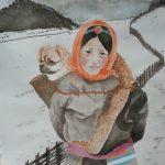 Tibetan Spaniel Dog and Tibetan Girl