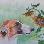 Borzoi Dog & Sunflowers