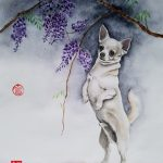 Chihuahua Dog and Wisteria Flowers – Ltd Ed Print