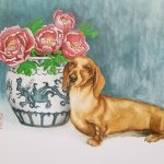 Dachshund Dog With Blue China Vase And Peony Flowers – Ltd Ed Print