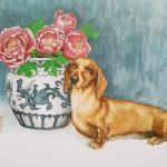 Dachshund Dog With Blue China Vase And Peony Flowers – Ltd Ed Print