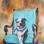 Staffordshire Terrier Dog Sitting On The Chair – Ltd Ed Prints