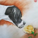 English Pointer Dog Smelling Rose – Ltd Ed Print