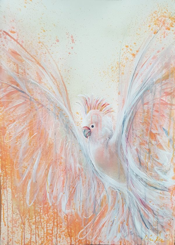 Artist Leni Kae Ascension Of The Pink Cockatoo Painting On Paper Art Pharmacy