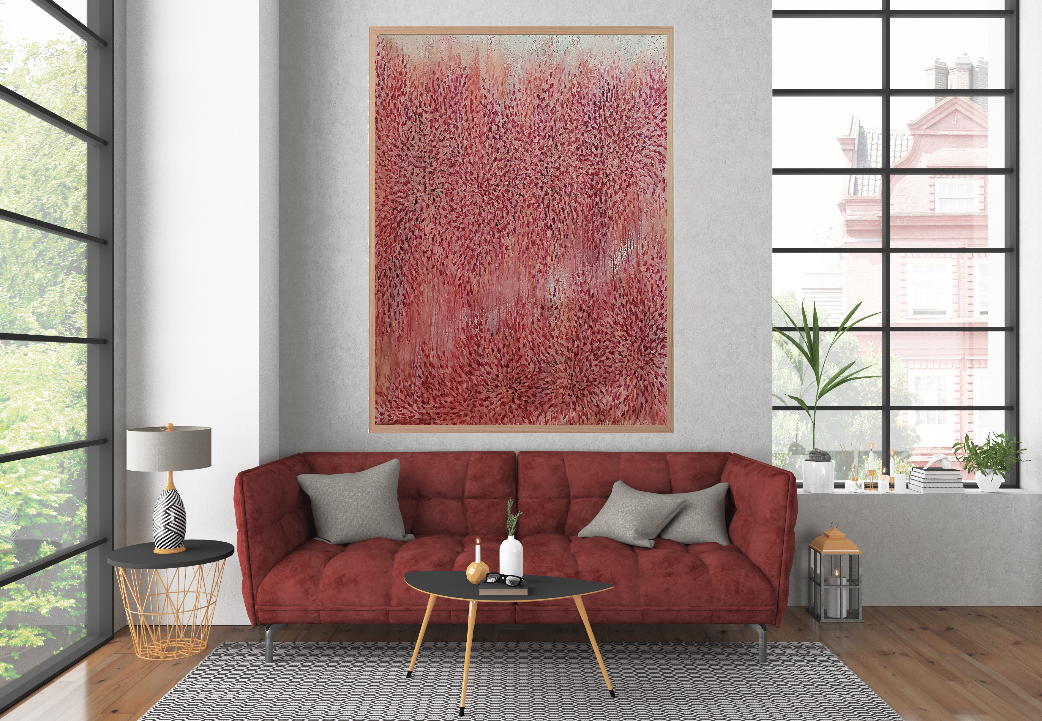 Artist Leni Kae Illawarra Flame Tree, Abstract Art Living Lounge Room Interior Design Statement Art