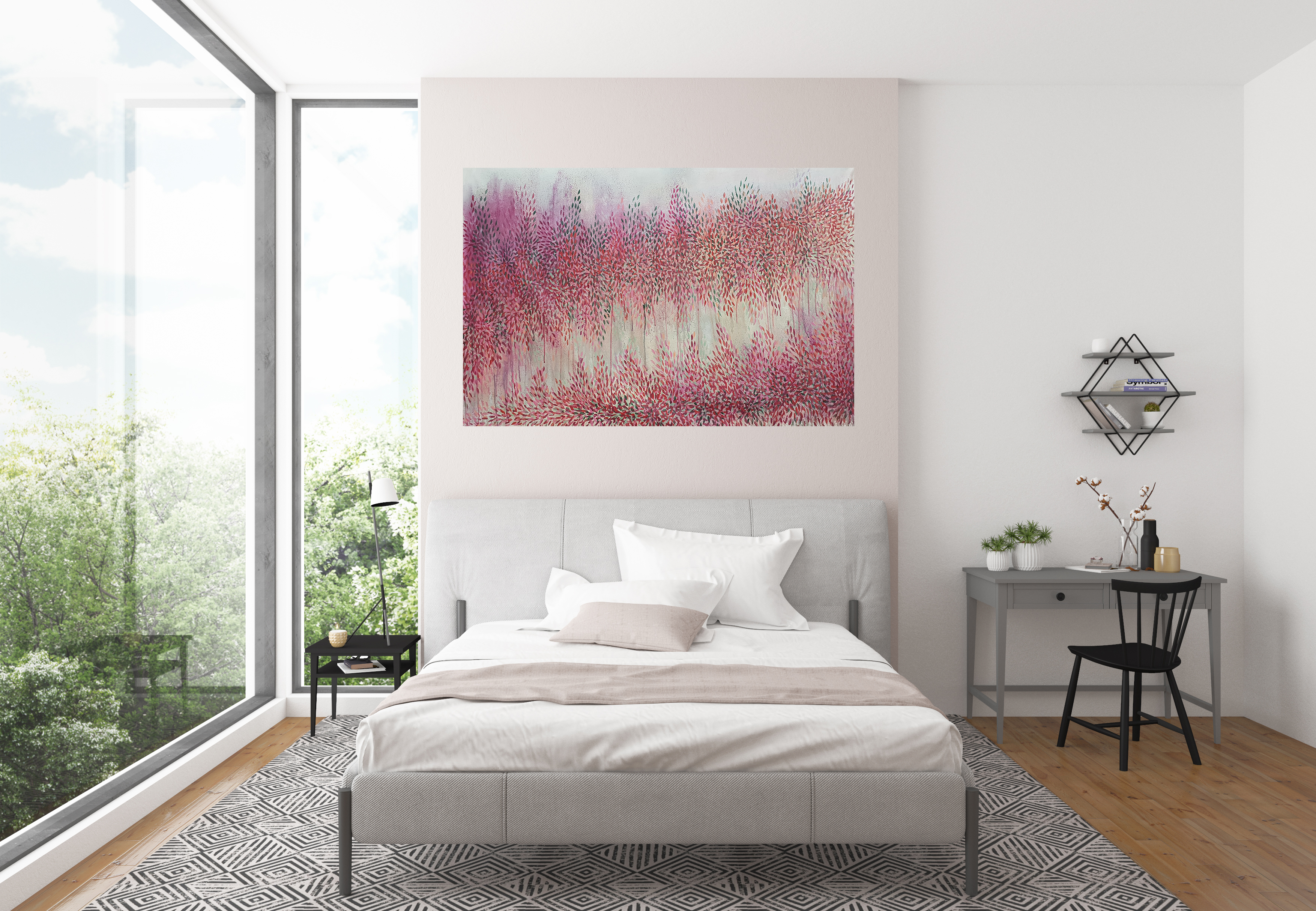Artist Leni Kae Interior Design Bedroom 2 All We Need In Heart Pink Red Abstract Landscape Art