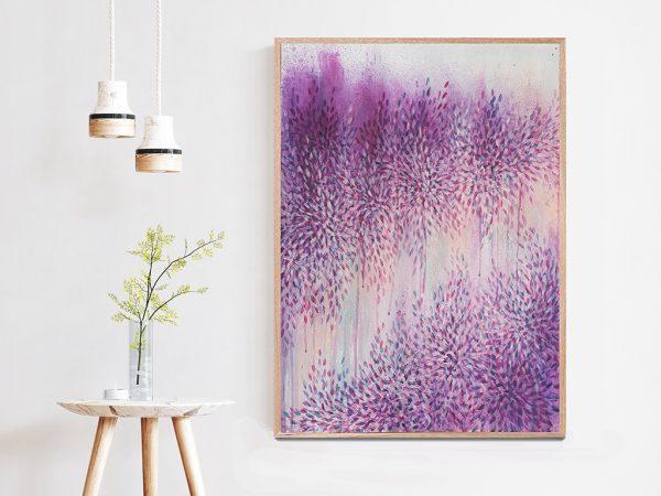 Artist Leni Kae Interior Design Purple Art Love Through Purple Haze Ii Wood Frame