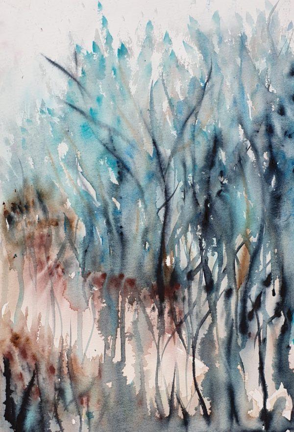 Artist Leni Kae Morning Light Through The Trees Watercolour Landscape