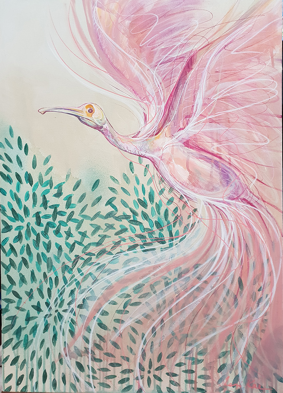 Artist Leni Kae Spoonbill Rising .bird Painting