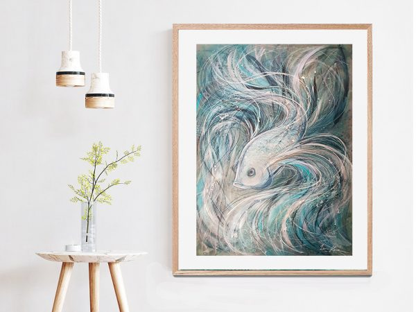 Artist Leni Kae Interior Design 2 Blue Grey Betta Fish Painting Artloversaustralia