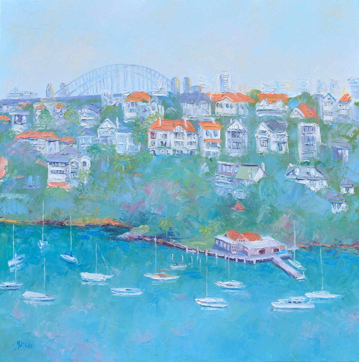 Mosman Bay And Sydney Harbour Bridge, Painting By Jan Matson