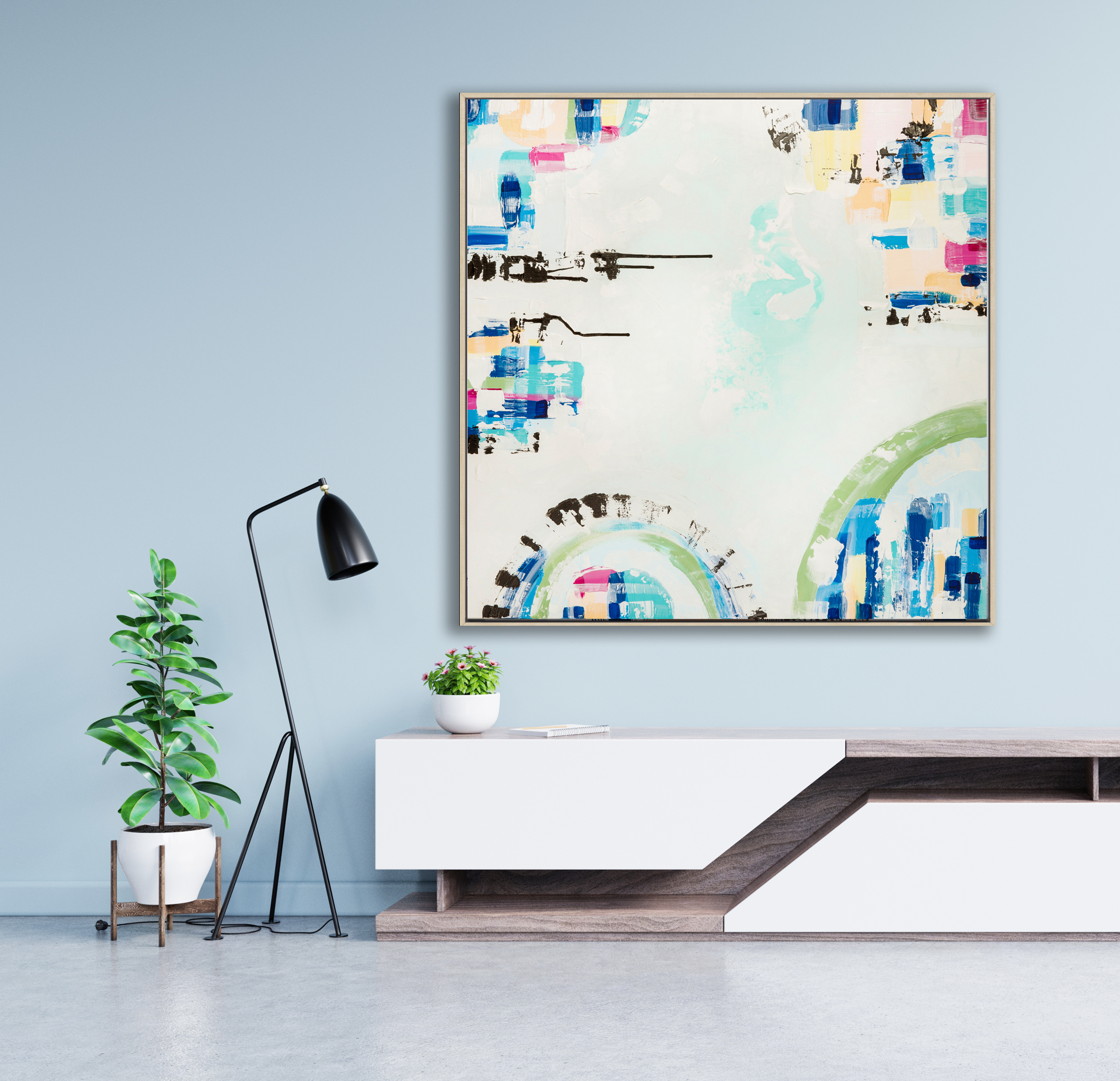 Modern Tv Stand Design With Blue Wall With Decoration.