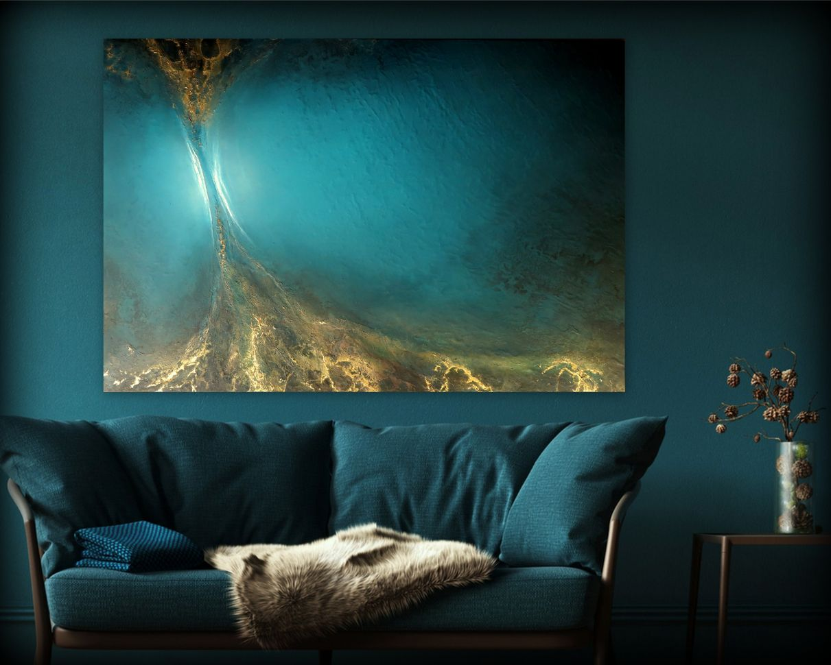 Teal And Gold Painting Petra Meikle De Vlas4