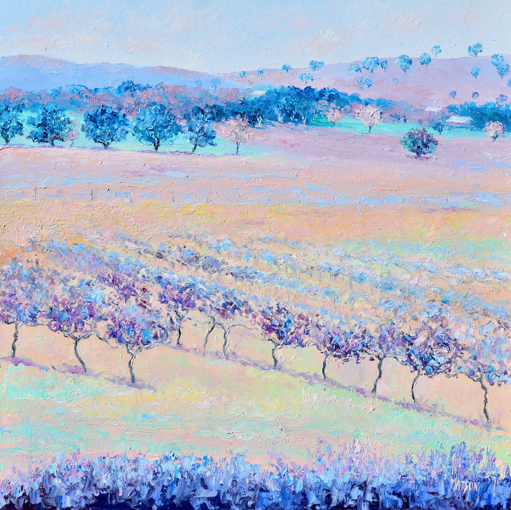 Violet Landscape, Painting By Jan Matson