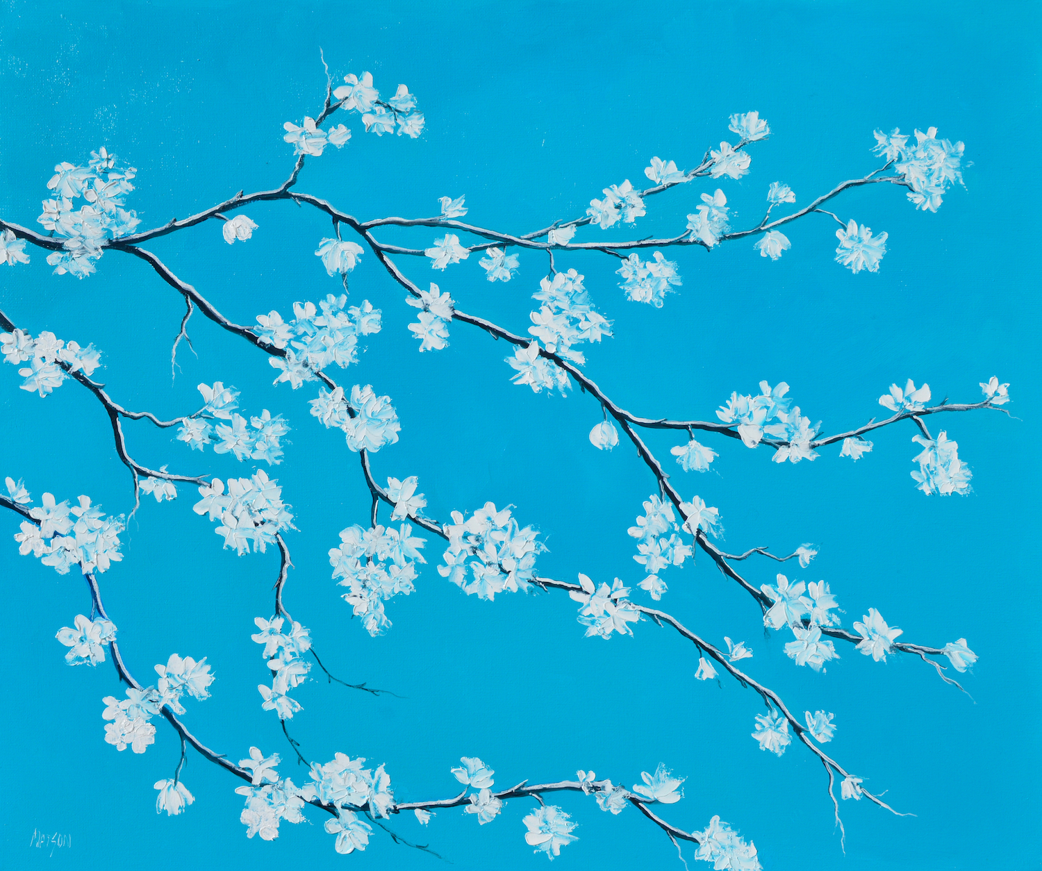 White Blossom On Turquoise Blue, Painting By Jan Matson 2019