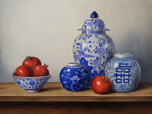 Blue White Pomegranate Sm 600x452