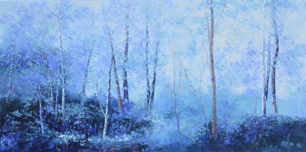 Landscape In Shades Of Lavender And Blue, Painting By Jan Matson