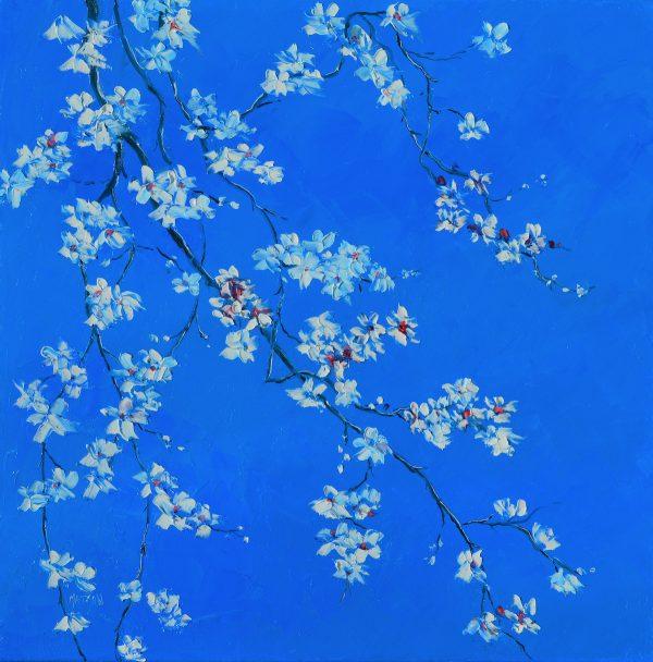 White Blossom On Blue, Flower Painting By Jan Matson