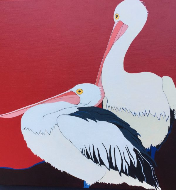 Pelicans In Red