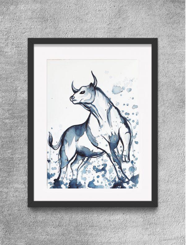 Running Bull Sydney Artist Leni Kae Minimal Art Framed Eg