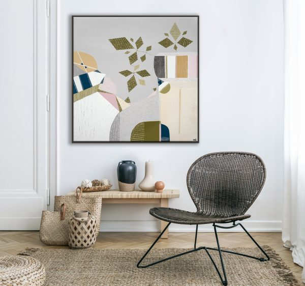 Modern Armchair And Pouf On Brown Carpet In White Apartment Inte