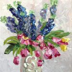 Delphiniums and pink tulips