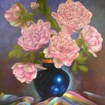 Peony in Cobalt Blue Vase