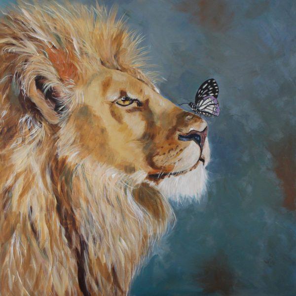 A Butterfly And A Lion Juliehollisart Artlovers Australia