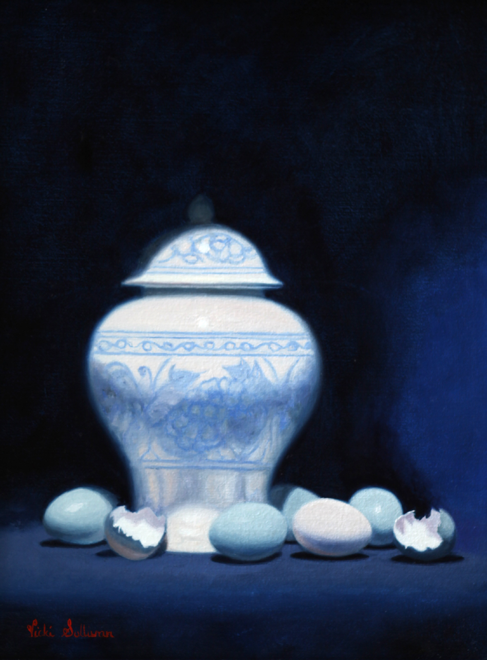 Blue Eggs And Blue And White Vase Oil On Linen H 40cm X W 30cm