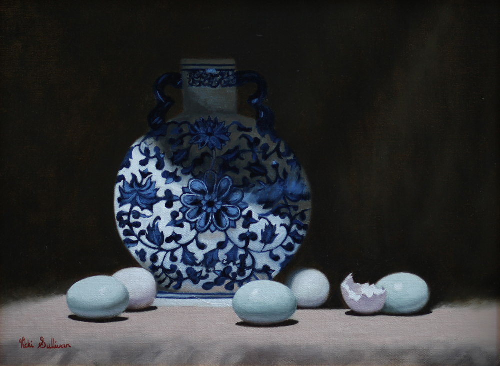 Blue Eggs With Moon Vase Oil On Canvas H32cm X W 44cm
