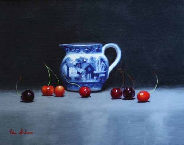 Blue And White Jug With Cherries Oil On Linen H 27cm X W 35cm