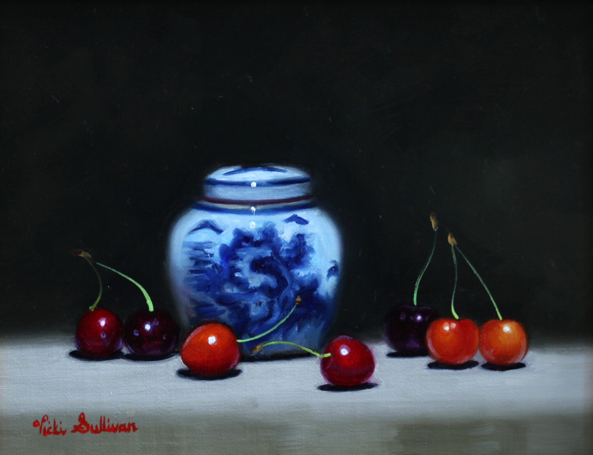 Blue And White Jar With Cherries Vicki Sullivan Art Lovers Australia Still Life Oil On Linen H19cm X W 24cm