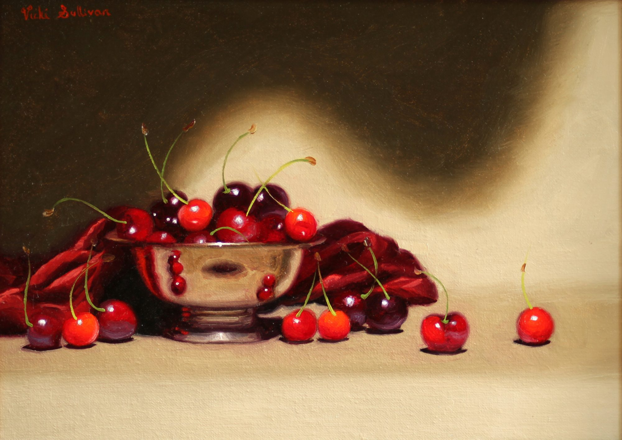 Cherries With Silver Bowl Vicki Sullivan Art Lovers Australia Still Life Oil On Linen H 25cm X W 34cm