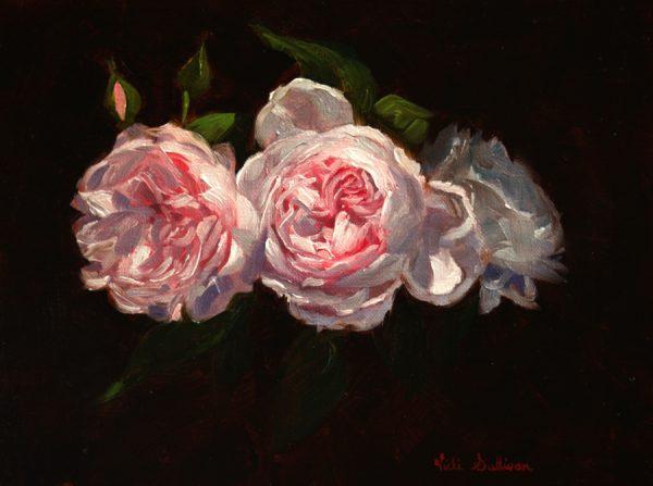 Earth Angel Roses Vicki Sullivan Art Lovers Australia Oil On Linen H20cm X W 25cm 2019
