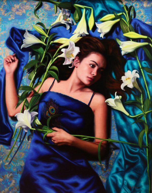 Fleeting Lilly Vicki Sullivan Art Lovers Australia Figurative Oil On Linen H102cm X W80cm 2017