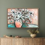 Happy Flowers – Flowers in a Vase – turquoise/terracotta/white