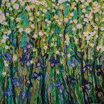 Irises under the iceberg roses