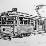 Vintage Melbourne Tram – lino cut print