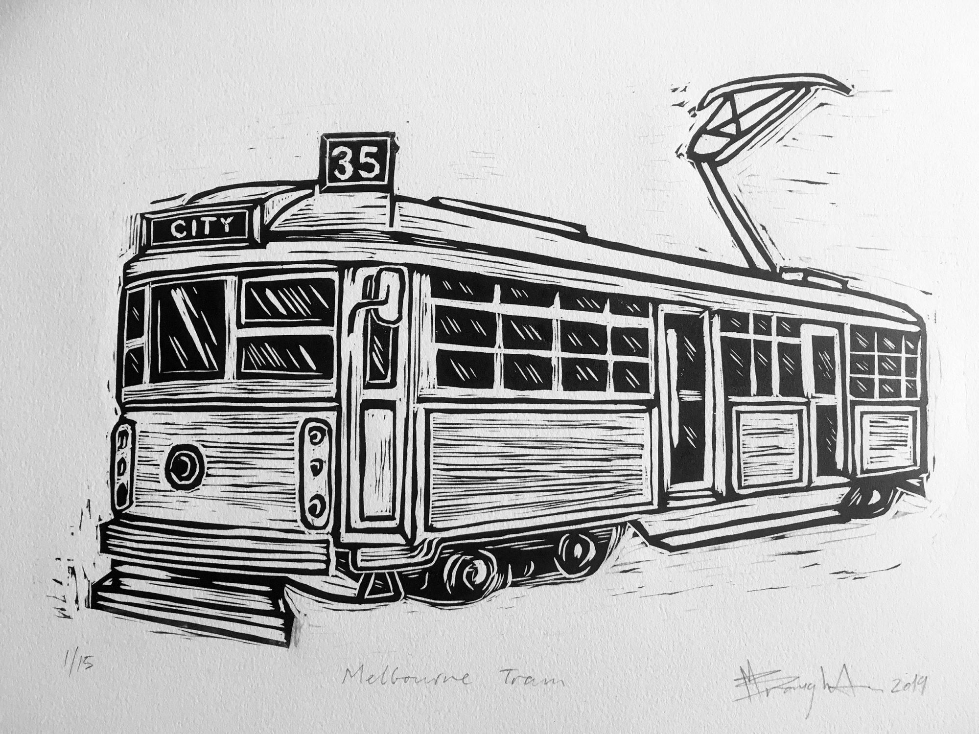 Melbourne Tram Lino Print Bw 2