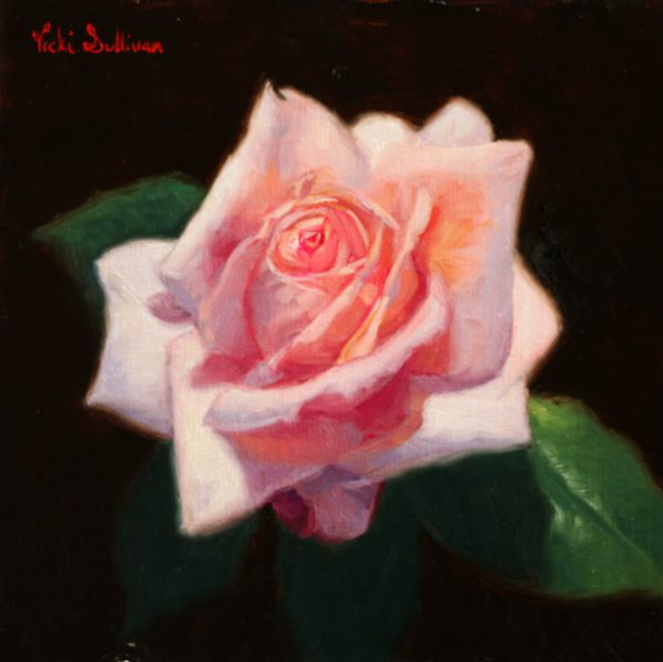 One Perfect Rose Vicki Sullivan Art Lovers Australia Oil On Linen H 18cm X W 18cm 2019 Still Life