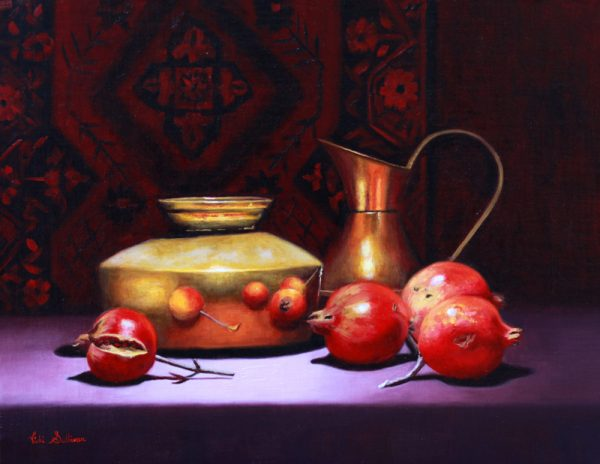 Pomegranates With Brass Pot