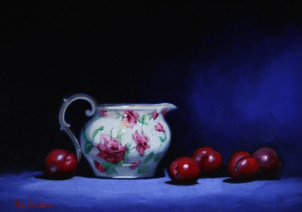 Rose Jug With Plums Oil On Linen H29cm X W 40cm