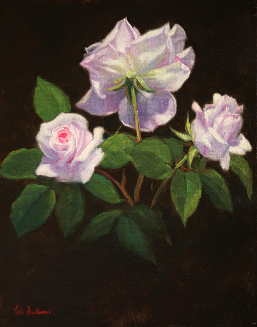 Three Pale Roses Vicki Sullivan Art Lovers Australia Still Life