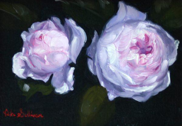 Two Earth Angel Roses Vicki Sullivan Art Lovers Australia Oil On Linen H 11cm X W 16cm