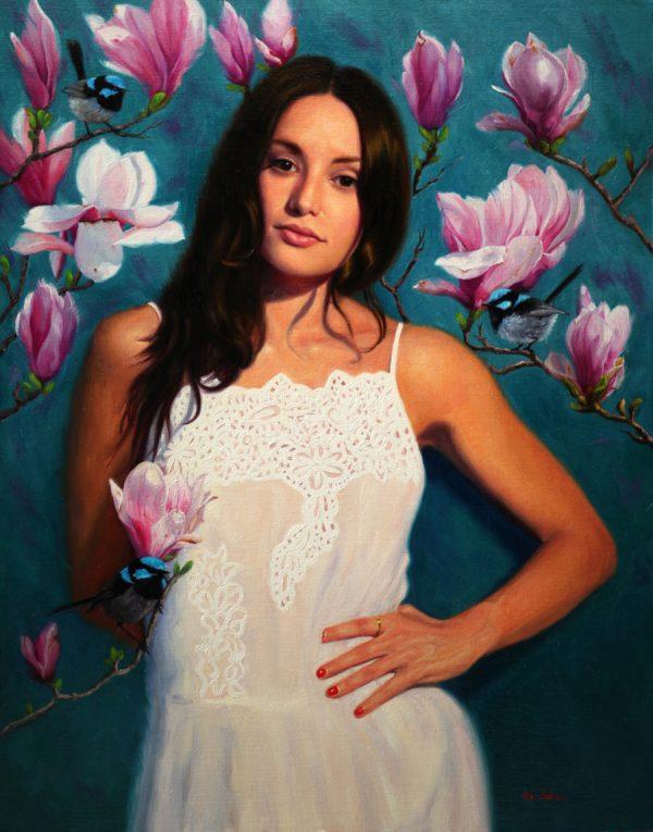 When I Dream Of Magnolias Vicki Sullivan Art Lovers Australia Figurative Portrait Oil On Linen H76cm X W 60cm 2019