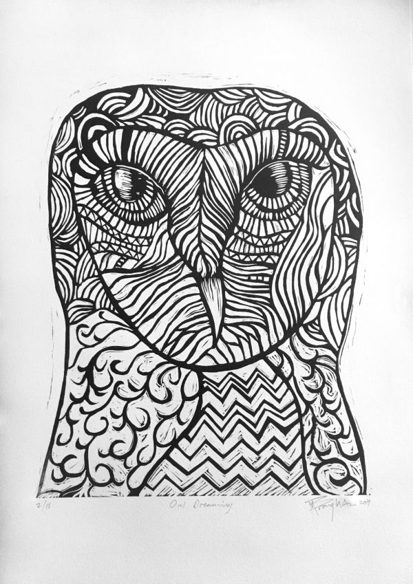 Lino Cut Print Of Owl