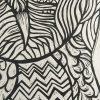 Lino Cut Print Of Owl Detail 2